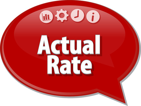 adjusted: Speech bubble dialog illustration of business term saying Actual rate Stock Photo