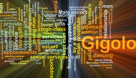older couple: Background concept wordcloud illustration of gigolo glowing light Stock Photo