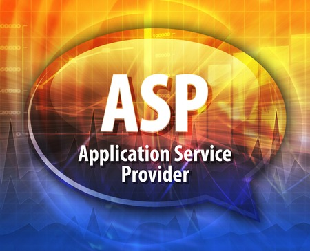 service provider: speech bubble illustration of information technology acronym abbreviation term definition ASP Application Service Provider Stock Photo
