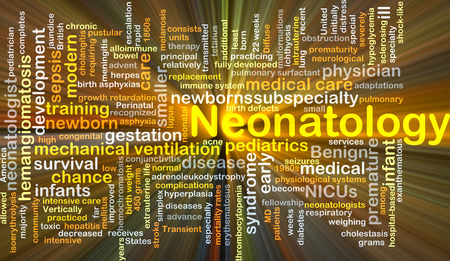 premature: Background concept wordcloud illustration of neonatology glowing light