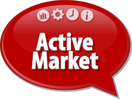 term: peech bubble dialog illustration of business term saying Active market