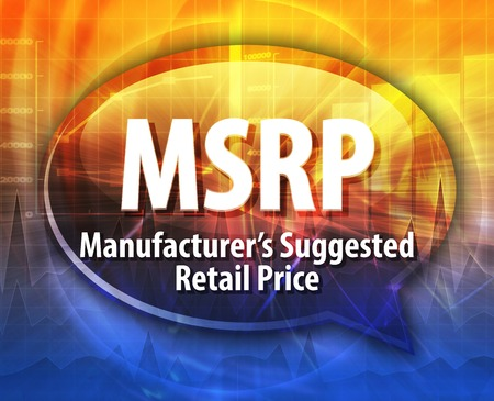 manufacturers: word speech bubble illustration of business acronym term MSRP Manufacturers Suggested Retail Price