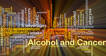 carcinogenic: Background concept wordcloud illustration of alcohol and cancer glowing light Stock Photo
