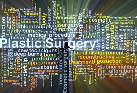 reconstructive: Background concept wordcloud illustration of plastic surgery glowing light