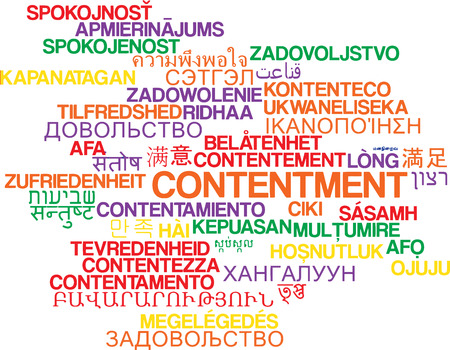 contentment: Background concept wordcloud multilanguage international many language illustration of contentment Stock Photo