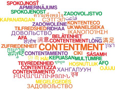contentment: Background concept wordcloud multilanguage international many language illustration of contentment Stock Photo