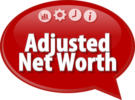 terminology: Speech bubble dialog illustration of business term saying Adjusted Net Worth Stock Photo