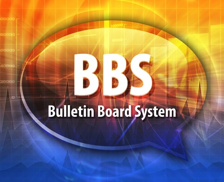 Speech bubble illustration of information technology acronym abbreviation term definition BBS Bulletin Board System Stock Photo