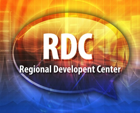 regional: word speech bubble illustration of business acronym term RDC Regional Development Center Stock Photo