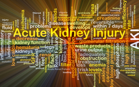 inflammatory: Background concept wordcloud illustration of acute kidney injury AKI glowing light