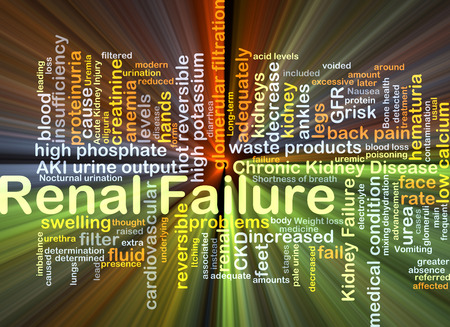 Background concept wordcloud illustration of renal failure glowing light Stock Photo