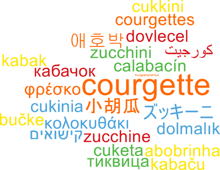 courgette: Background concept wordcloud multilanguage international many language illustration of courgette