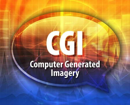 imagery: Speech bubble illustration of information technology acronym abbreviation term definition CGI Computer Generated Imagery