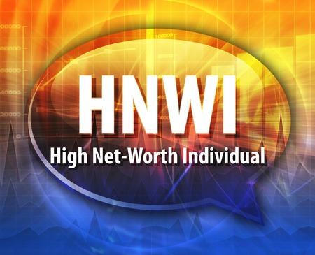 word speech bubble illustration of business acronym term HNWI High Net-Worth Individual Stock Photo
