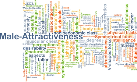 socioeconomic: Background concept wordcloud illustration of male-attractiveness
