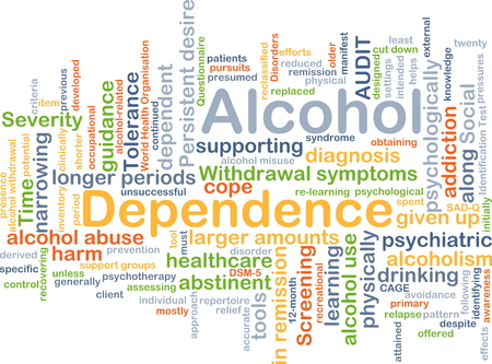 physically: Background concept wordcloud illustration of alcohol dependence Stock Photo