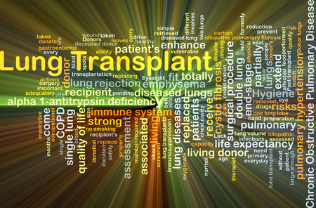 emphysema: Background concept wordcloud illustration of lung transplant glowing light Stock Photo