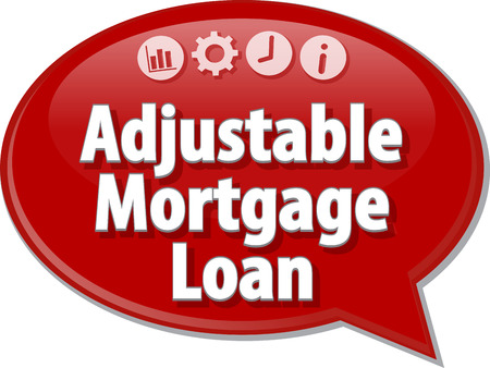 adjustable: Speech bubble dialog illustration of business term saying Adjustable Mortgage Loan Stock Photo