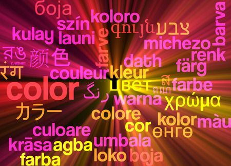 glowing skin: Background concept wordcloud multilanguage international many language illustration of color glowing light Stock Photo
