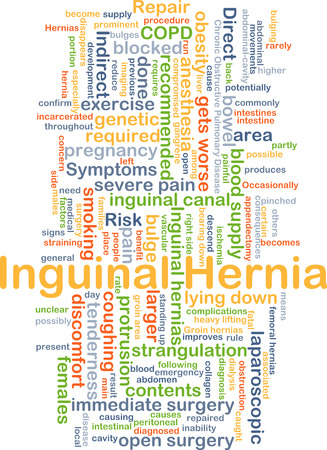 bowel surgery: Background concept wordcloud illustration of inguinal hernia Stock Photo