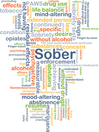 achieved: Background concept wordcloud illustration of sober