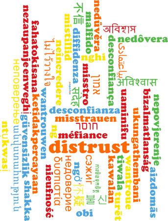 desconfianza: Concepto de fondo wordcloud ilustraci�n muchos lengua internacional multilenguaje de desconfianza Foto de archivo