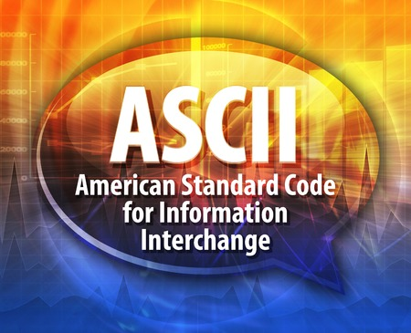 interchange: speech bubble illustration of information technology acronym abbreviation term definition ASCI American Standard Code for Information Interchange Stock Photo