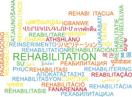 rehabilitation: Background concept wordcloud multilanguage international many language illustration of rehabilitation Stock Photo