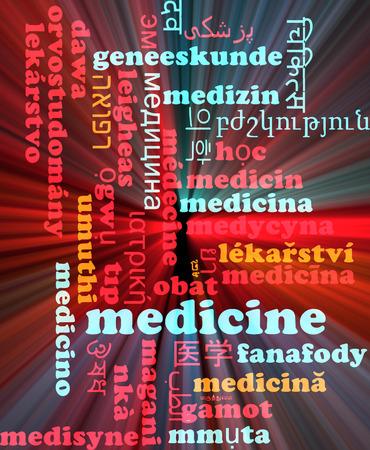 multilingual: Background concept wordcloud multilanguage international many language illustration of medicine glowing light