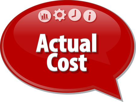 actual: Speech bubble dialog illustration of business term saying Actual cost