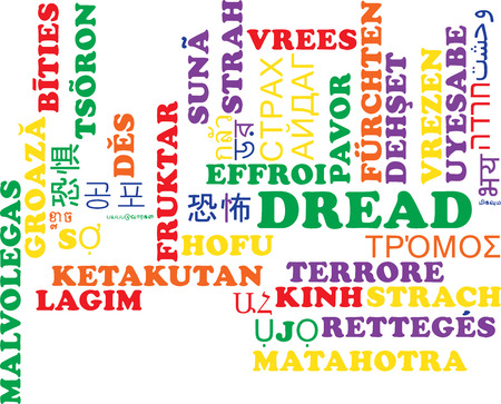 dread: Background concept wordcloud multilanguage international many language illustration of dread
