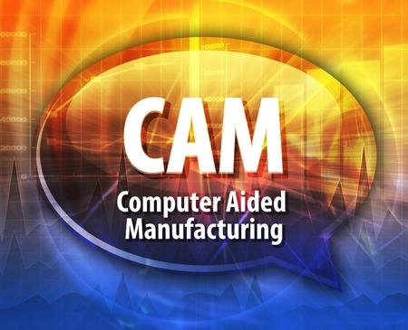 abbreviation: Speech bubble illustration of information technology acronym abbreviation term definition CAM Computer Aided Manufacturing