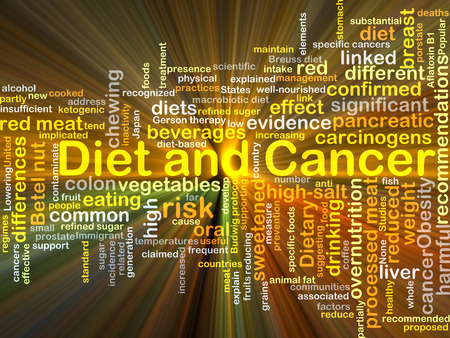 pancreatic cancer: Background concept wordcloud illustration of diet and cancer glowing light Stock Photo