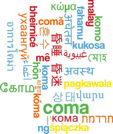 coma: Background concept wordcloud multilanguage international many language illustration of coma