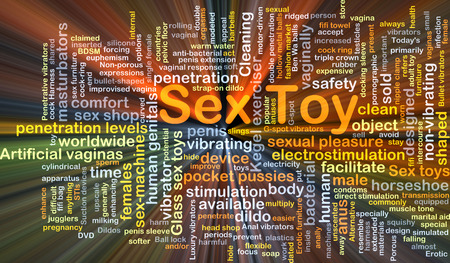 sex toys: Background concept wordcloud illustration of sex toy glowing light Stock Photo