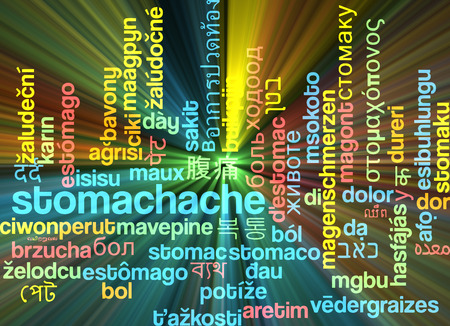 uncomfortable: Background concept wordcloud multilanguage international many language illustration of stomachache glowing light