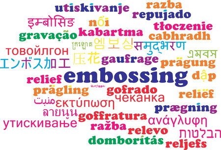 embossing: Background concept wordcloud multilanguage international many language illustration of embossing