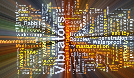 sex toy: Background concept wordcloud illustration of vibrators glowing light Stock Photo