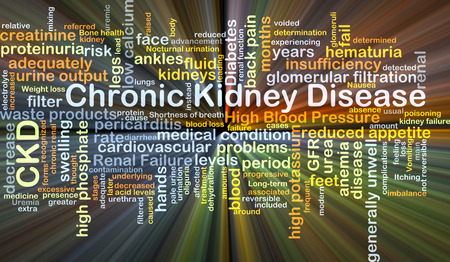 renal failure: Background concept wordcloud illustration of chronic kidney disease CKD glowing light