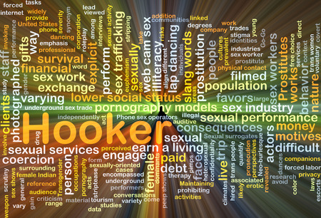 sex discrimination: Background concept wordcloud illustration of hooker glowing light