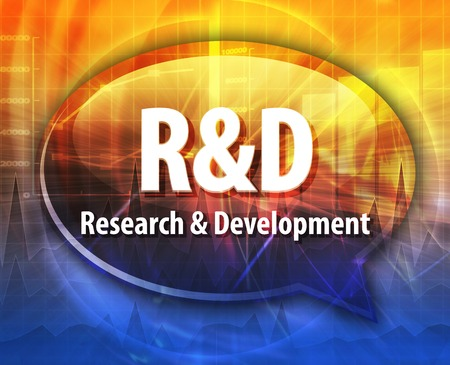 rd: word speech bubble illustration of business acronym term R&D