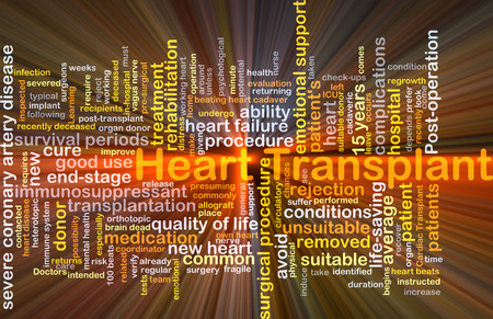 heart failure: Background concept wordcloud illustration of heart transplant glowing light Stock Photo