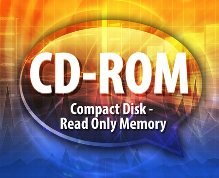 cdrom: Speech bubble illustration of information technology acronym abbreviation term definition CD-ROM compact disk read only memory