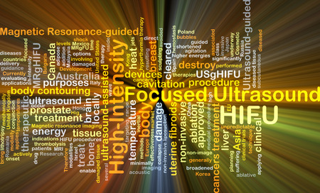 Background concept wordcloud illustration of high-intensity focused ultrasound HIFU glowing light Фото со стока