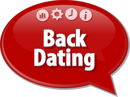 dating strategy: Speech bubble dialog illustration of business term saying Back Dating Stock Photo