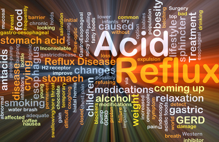sphincter: Background concept wordcloud illustration of acid reflux glowing light