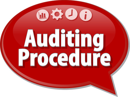auditing: Speech bubble dialog illustration of business term saying Auditing Procedure Finance Stock Photo