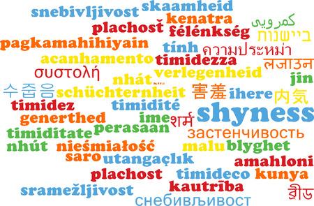 shyness: Background concept wordcloud multilanguage international many language illustration of shyness