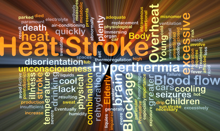 blockage: Background concept wordcloud illustration of heat stroke glowing light