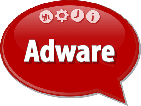 adware: Speech bubble dialog illustration of business term saying Adware Stock Photo